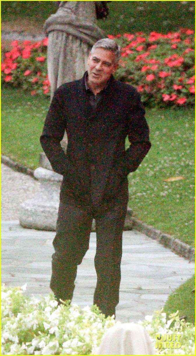 George Clooney and Grant Heslov at Villa D'Este yesterday in Como Ass510