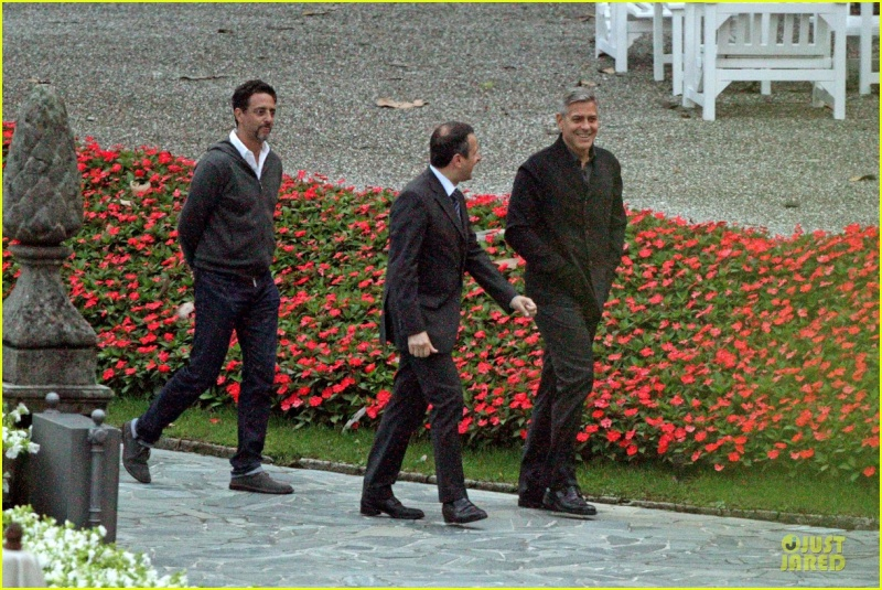 George Clooney and Grant Heslov at Villa D'Este yesterday in Como Ass610
