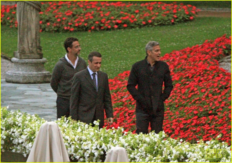 George Clooney and Grant Heslov at Villa D'Este yesterday in Como Ass810