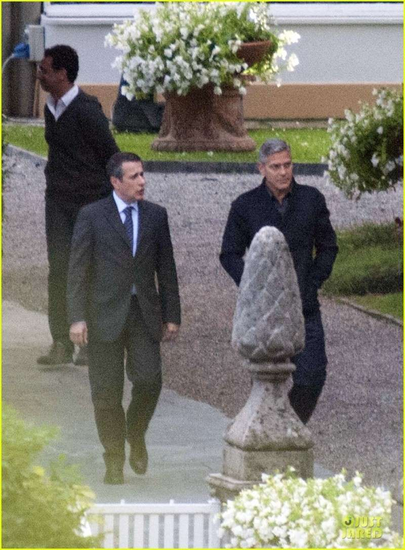 George Clooney and Grant Heslov at Villa D'Este yesterday in Como Ass910