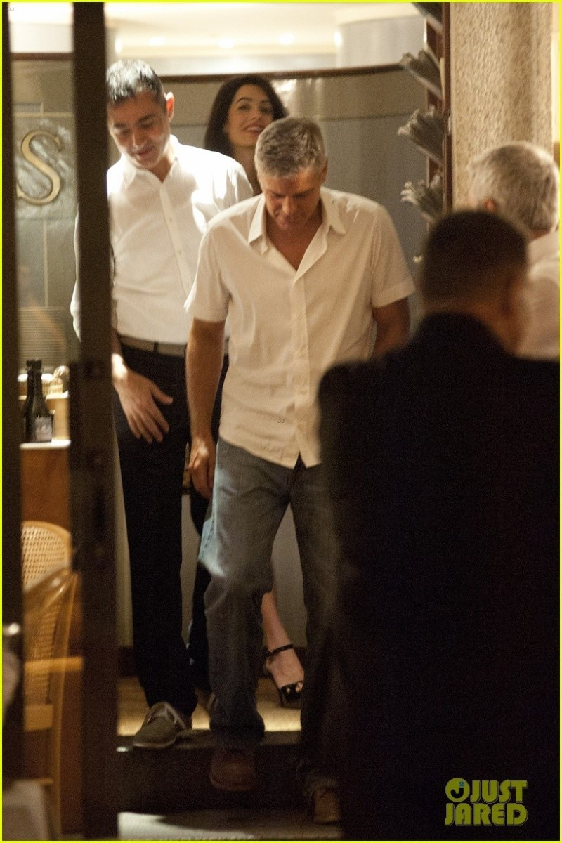 George Clooney & Fiancee Amal Alamuddin Step Out for Romantic Dinner at Harry's Bar! Bar310