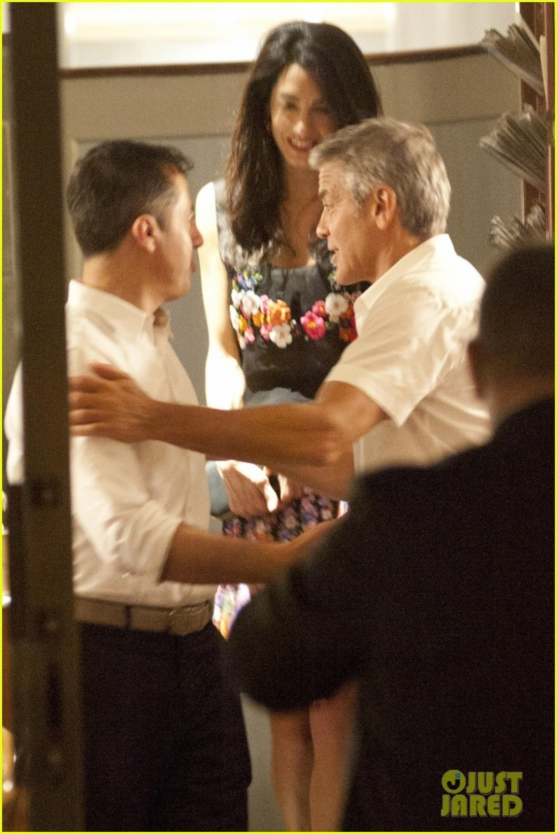 George Clooney & Fiancee Amal Alamuddin Step Out for Romantic Dinner at Harry's Bar! Bar810