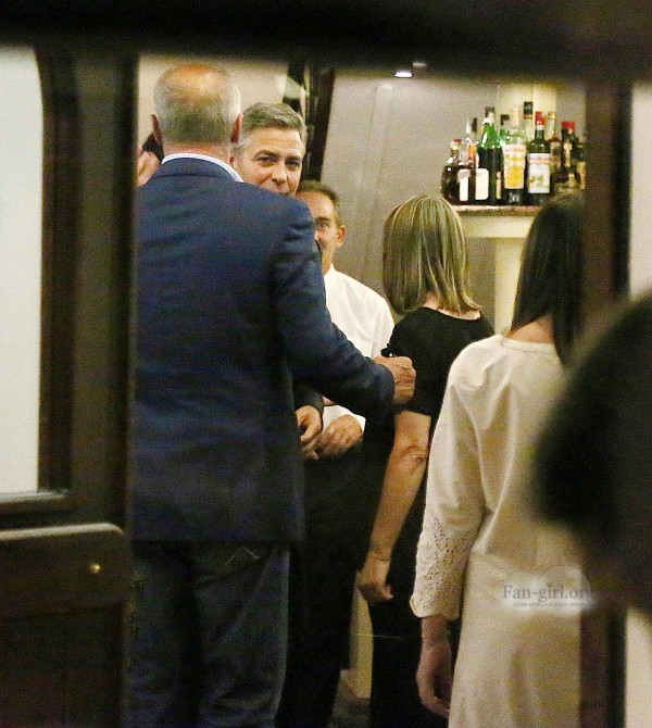 George Clooney & Fiancee Amal Alamuddin Make It a Family Night in Italy! Dinner11