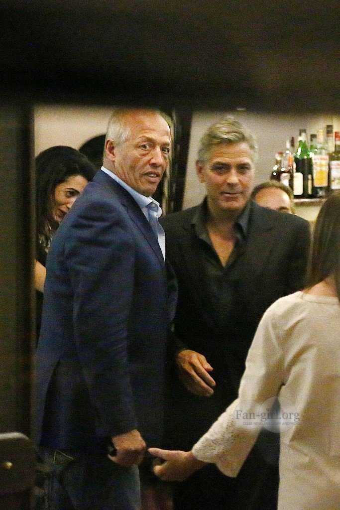 George Clooney & Fiancee Amal Alamuddin Make It a Family Night in Italy! Dinner12