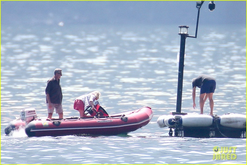 George Clooney on the Dock at Lake Como Dock210