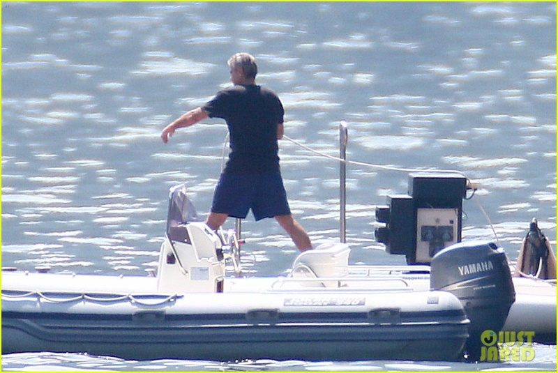 George Clooney on the Dock at Lake Como Dock710