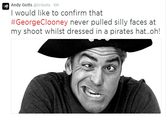 George Clooney funny photograph dressed in a pirates hat Funny11