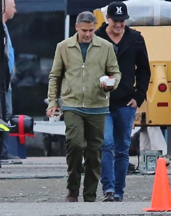 George Clooney on the set of Tomorrowland to reshoot in Vancouver Gg410