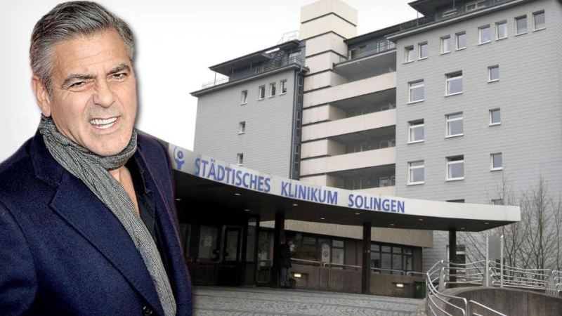 George Clooney hospital check in Solingen Germany Hospit11