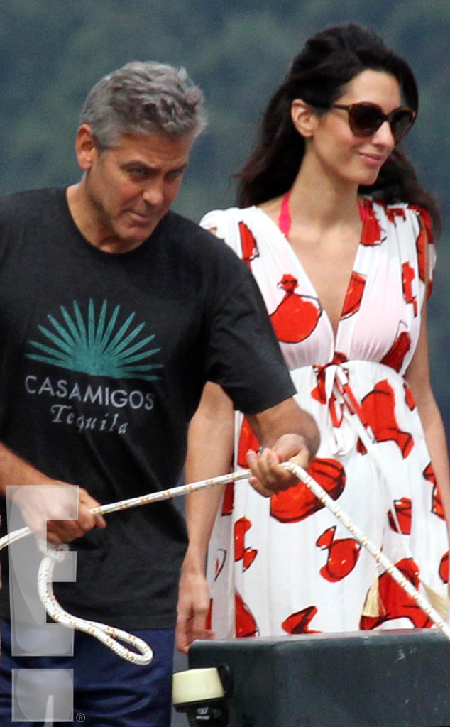 Photos: George Clooney and Amal Alamuddin boating on Lake Como Kiss810