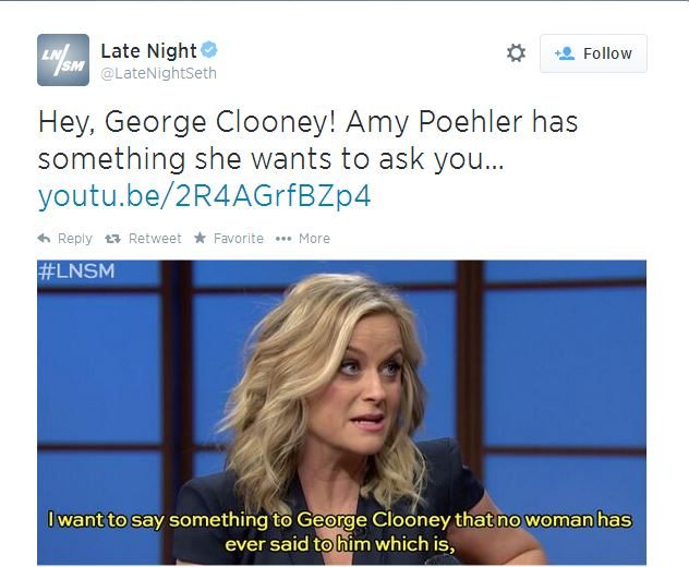 "Amy Poehler tells George Clooney to ""stop"" Late10"