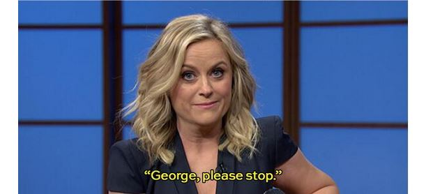 "Amy Poehler tells George Clooney to ""stop"" Late210"