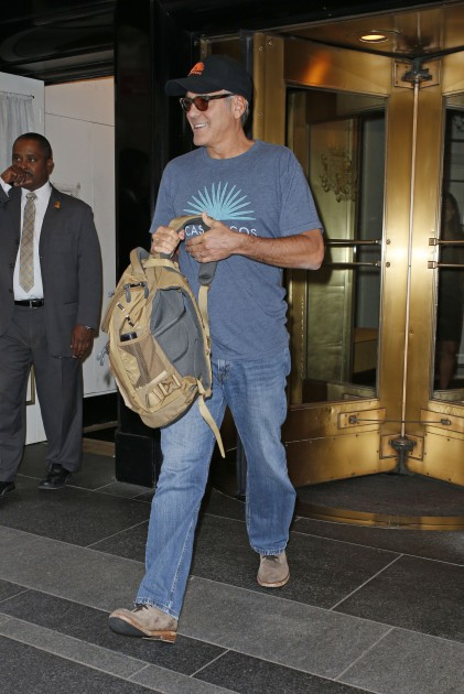 George Clooney at the Carlyle hotel after ComicCon promo Neu216