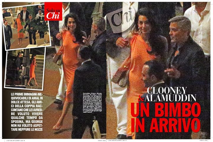 George Clooney and Amal dining at Villa d'este in Lake Como, Italy, on Aug. 29. 2014 Newp210