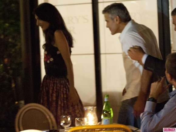 George Clooney & Fiancee Amal Alamuddin Step Out for Romantic Dinner at Harry's Bar! Pan710