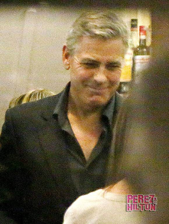 George Clooney & Fiancee Amal Alamuddin Make It a Family Night in Italy! Perez10