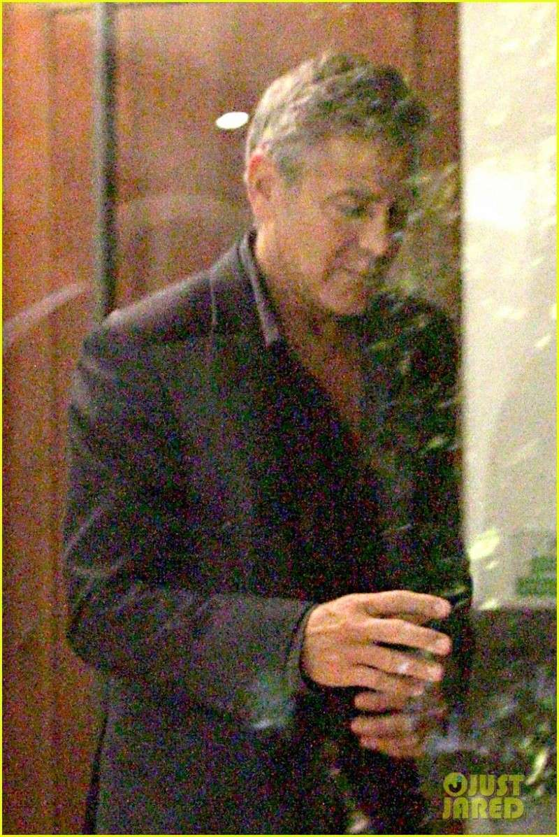 George Clooney & Fiancee Amal Alamuddin Make It a Family Night in Italy! Pic1110