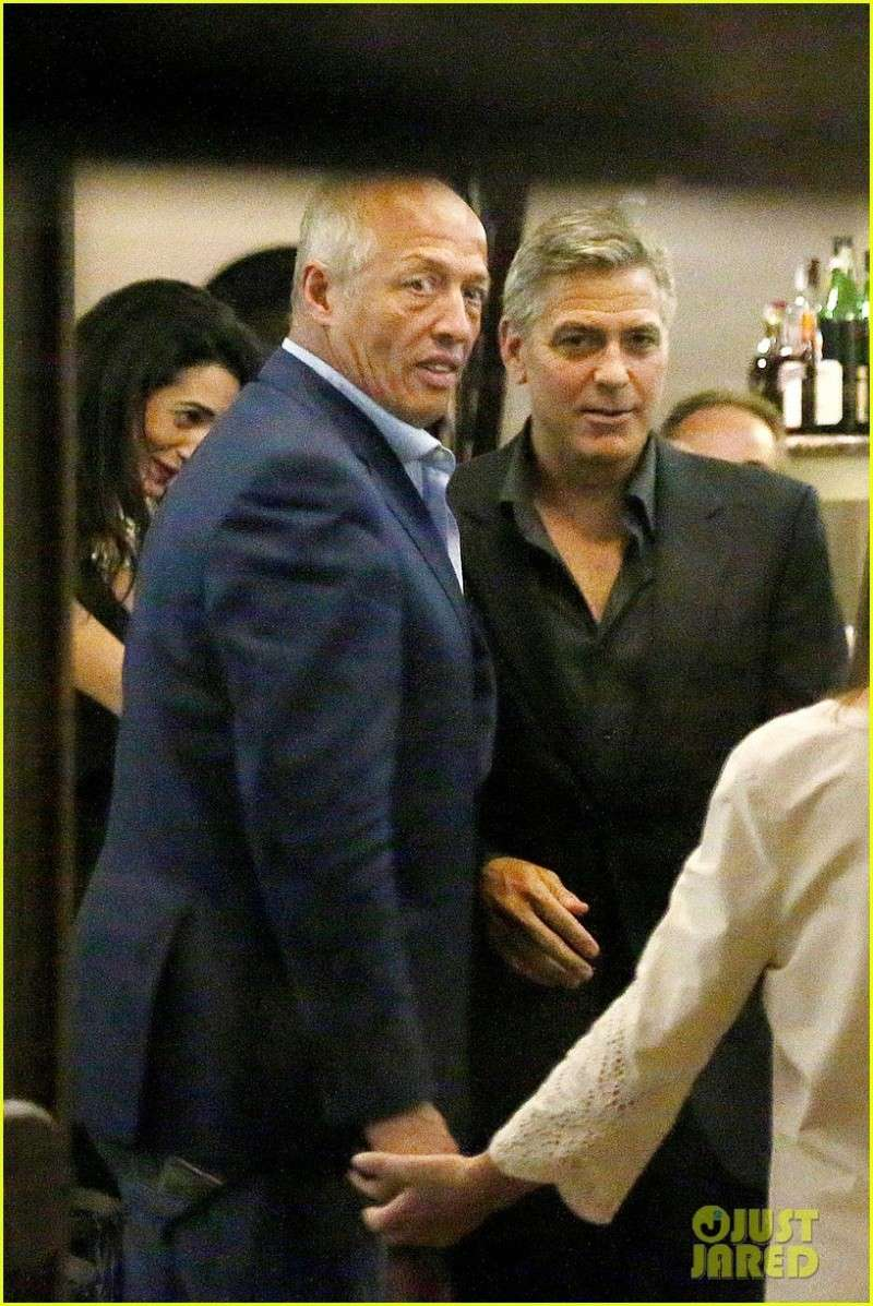 George Clooney & Fiancee Amal Alamuddin Make It a Family Night in Italy! Pic210