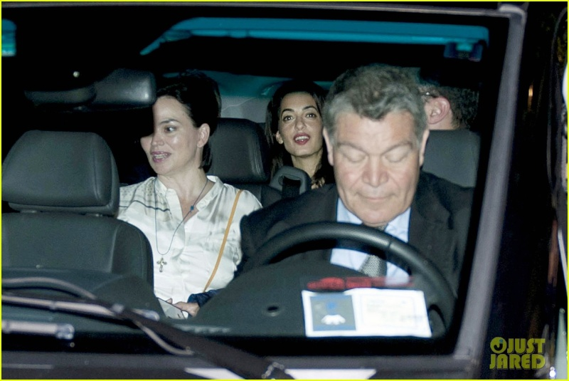 George Clooney & Fiancee Amal Alamuddin Make It a Family Night in Italy! Pic410