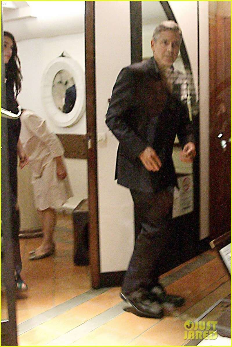 George Clooney & Fiancee Amal Alamuddin Make It a Family Night in Italy! Pic510