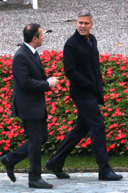 George Clooney and Grant Heslov at Villa D'Este yesterday in Como Pic511