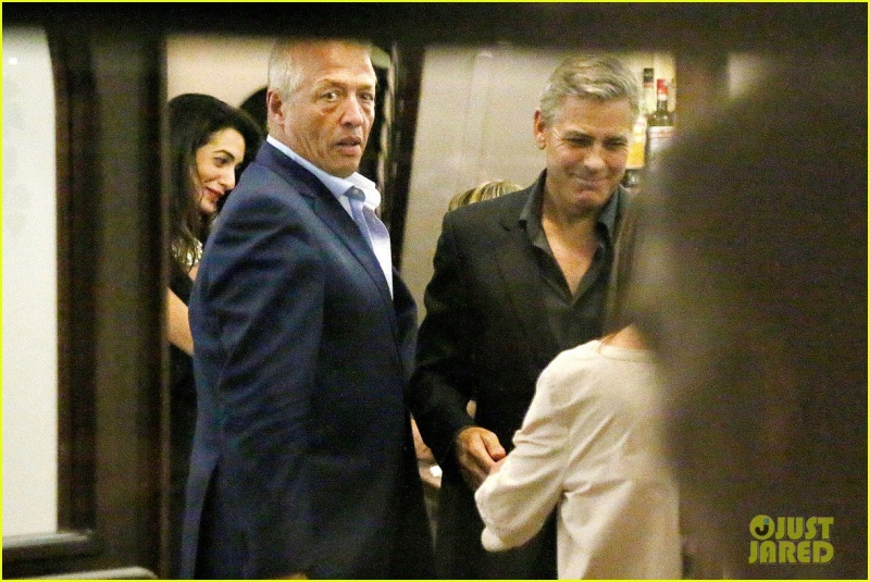 George Clooney & Fiancee Amal Alamuddin Make It a Family Night in Italy! Pic610