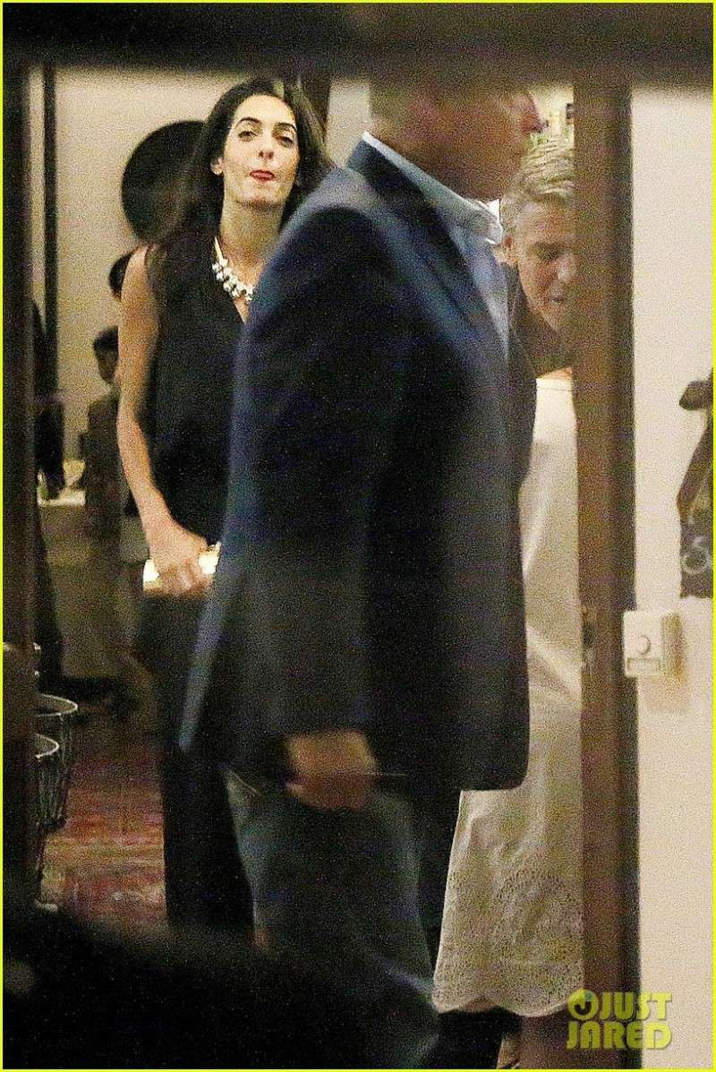 George Clooney & Fiancee Amal Alamuddin Make It a Family Night in Italy! Pic810