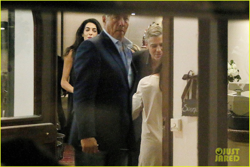 George Clooney & Fiancee Amal Alamuddin Make It a Family Night in Italy! Pic910