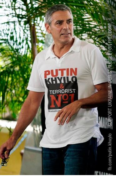 George Clooney wearing an anti Putin T-shirt - Photoshop propaganda Russia11
