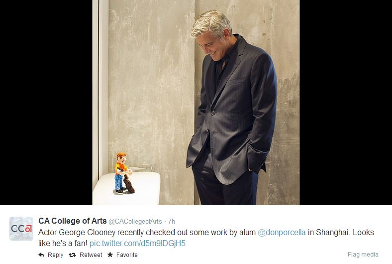 George Clooney checked out some art work when he was in Shanghai  Shang10