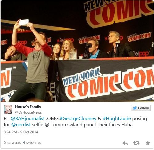 George Clooney Tomorrowland visit ComicCon New York in October Twit16