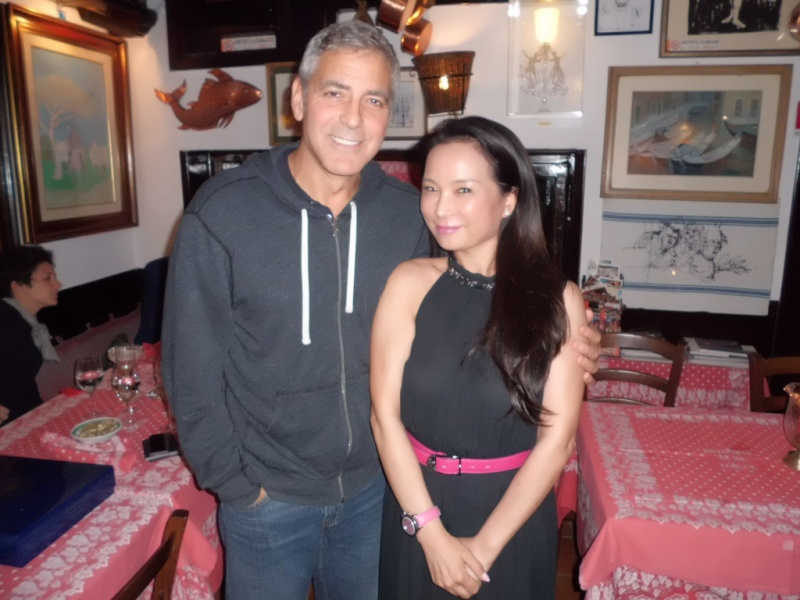 George and Amal having dinner at Da Ivo in Venice Ven510