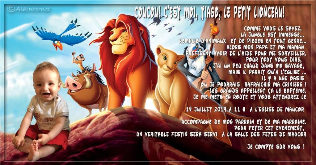 """faire part baptème thème """"Le Roi Lion"""" Sans_t42"""