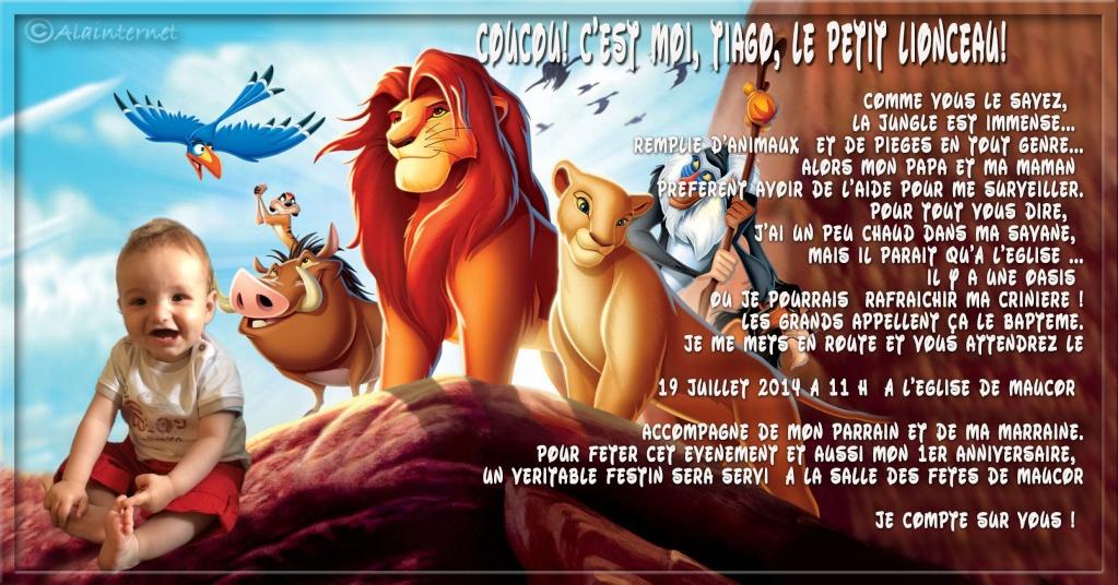 """faire part baptème thème """"Le Roi Lion"""" Sans_t46"""
