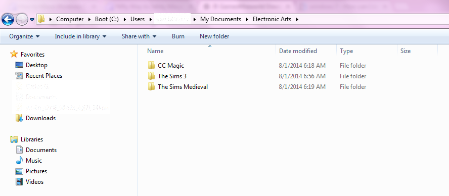 "Redirecting the username folder ""The Sims 3"" to a different location. Screen21"