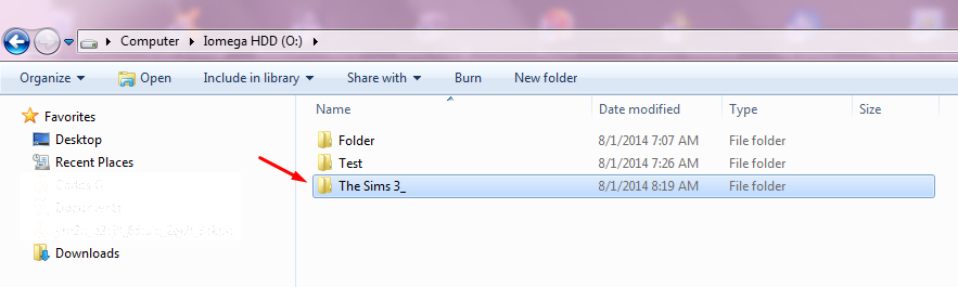 "Redirecting the username folder ""The Sims 3"" to a different location. Screen27"