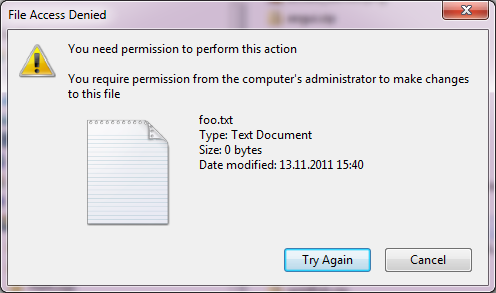 """Permissions"" error when copying (cracked) files - fix. Screen40"