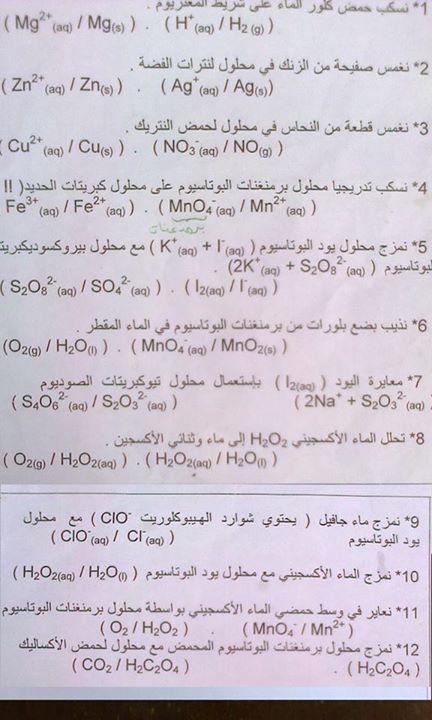 معادلات نصفية وثنائيات التي تتكرر دائما في البكالوريا ( فيزياء وكيمياء ) 119