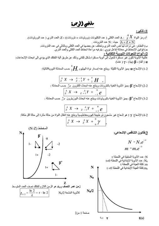ملخصات الوحدة 2 في الفيزياء ( ثالثة ثانوي ) 133