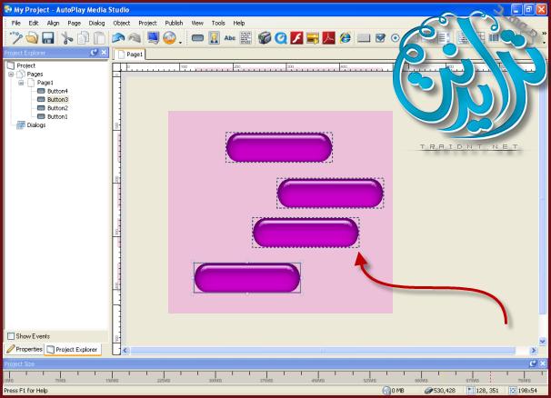 كيفية ترتيب الازرار بشكل صحيح AutoPlay Media Studio V8.0.7.0 179