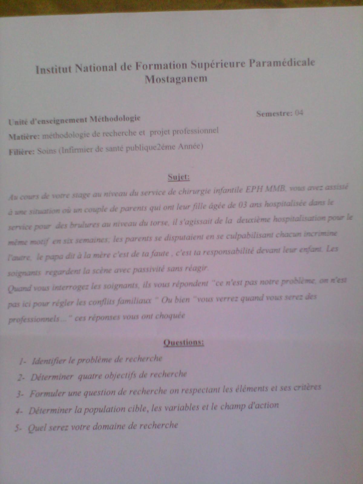 (sujet d'examen pour les ISP 2ème année(méthodologie Img_2012