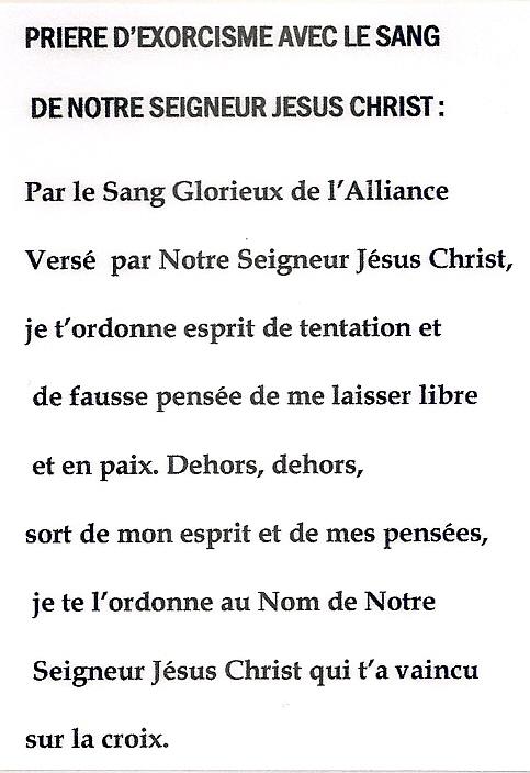 Prière d'exorcisme avec le Sang de Notre Seigneur Jésus Christ ! Numari11
