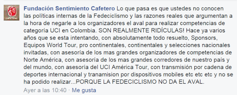 Necesitamos más pruebas UCI en Colombia Sentca10