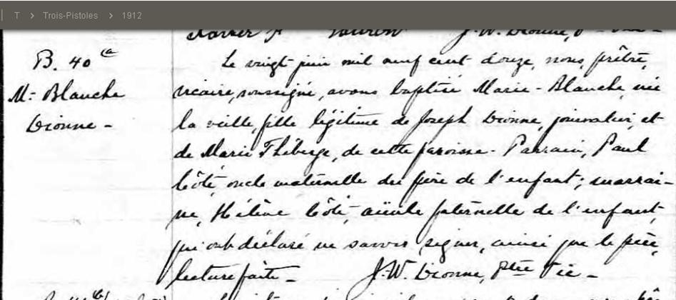 qui trouvera le mariage de Joseph Dionne et Marie Théberge Baptym10