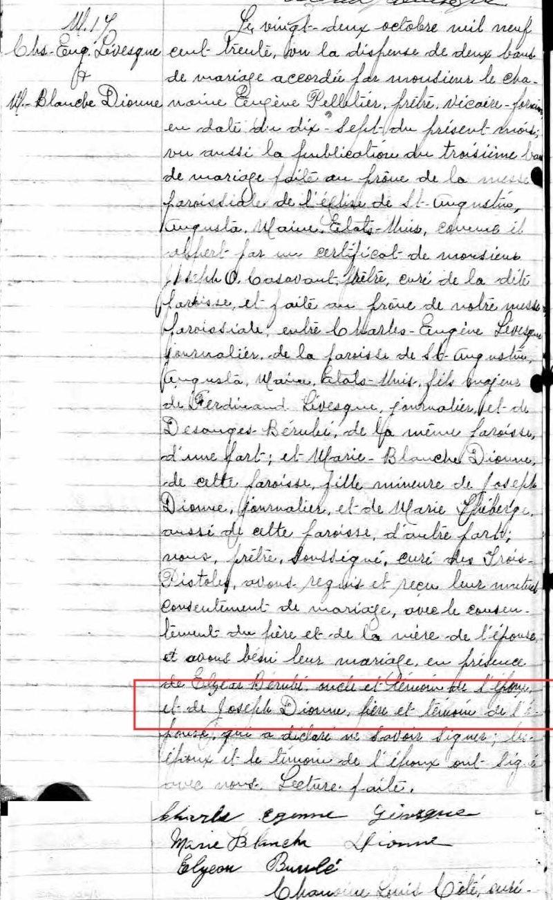 qui trouvera le mariage de Joseph Dionne et Marie Théberge Untitl18