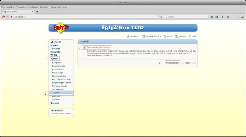Convertire lingua FritzBox 7490 in Italiano Scherm10