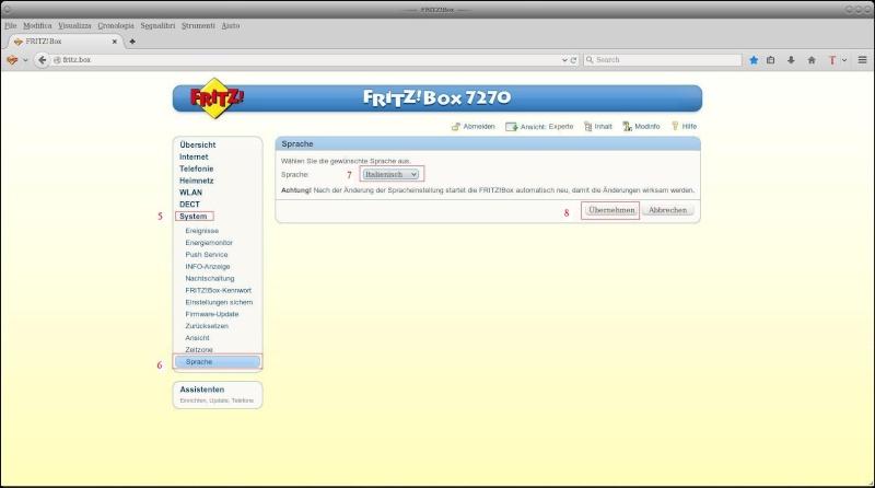 Convertire lingua FritzBox 7490 in Italiano Scherm11