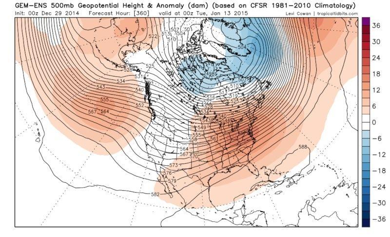 Ensemble Long Range Forecast Case Study #1 (500mb and 850mb) Gem-en10