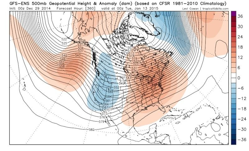 Ensemble Long Range Forecast Case Study #1 (500mb and 850mb) Gfs-en10