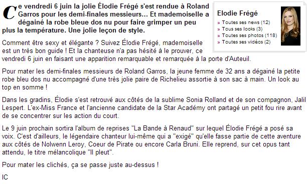 Elodie Frégé à Roland Garros (06 juin 2014) Captur12